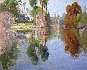 Reflections in a Pond by Sharon Weaver Oil ~ 11 x 14