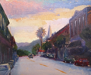 Sunset in Downtown by Sharon Weaver Oil ~ 8 x 10