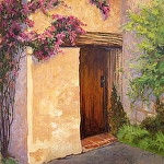 Side Door at Carmel Mission by Sharon Weaver Oil ~ 24 x 24