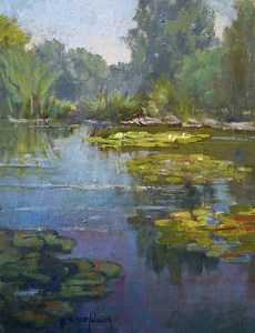 Lily Pond Afternoon by Sharon Weaver Oil ~ 14 x 11