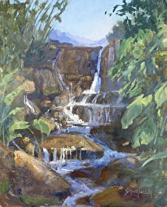 Waterfall at the Huntington by Sharon Weaver Oil ~ 14 x 11