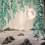 """FIRST GALLERY OLATHE  - PAINT NIGHT """"WILLOW MOON""""  JUNE 17 & 22  TIME: 6:30-8:30,$25.per artist"""