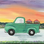 """FIRST GALLERY OLATHE  - PAINT NIGHT """"SUNSET DELIVERY"""" TUESDAY  MAY 11,  6:30-8:30 $25."""