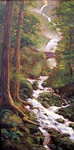 wahkeena falls Oregon Gorge by Michael Orwick Oil ~ 24 x 12