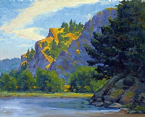 Rooster Rock  Oregon Gorge 7-2008 by Michael Orwick Oil ~ 16 x 20