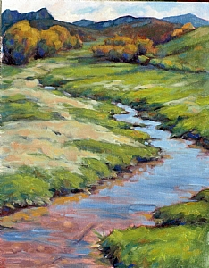 Victor Idaho Creek near Driggs by Michael Orwick Oil ~ 14 x 11