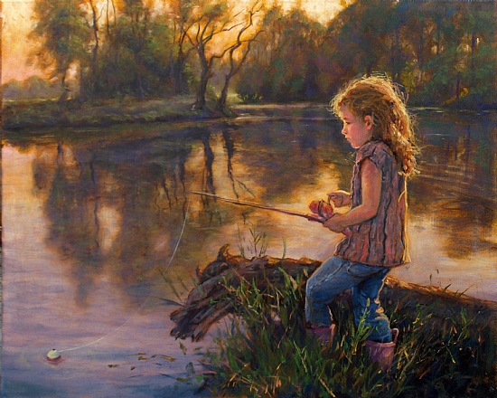 Do Princesses Fish by Michael Orwick Oil ~ 24 x 30