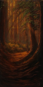 A Tall Tail of Trails and Trees by Michael Orwick Oil ~ 15 x 30