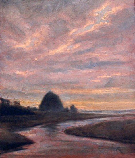 cannon beach haystack rock by Michael Orwick Oil ~ 14 x 11