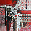 Pretty In Red 2 by Carol Staub Mixed Media on Canvas ~ 36 x 36