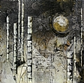 Moon Over Birchwoods by Carol Staub Mixed Media ~ 24 x 24