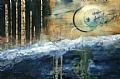Asian Moon by Carol Staub Mixed Media on Canvas ~ 24 x 36