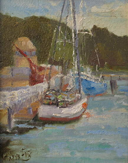 Loading the Crab Traps by Kathryn Ellis Oil ~ 10 x 8