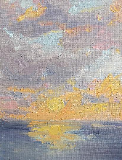 Poplar Beach Sunset by Kathryn Ellis Oil ~ 10 x 8