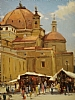 Leather Market, Piazza St Lorenzo, Florence by Brian Blood - Oil
