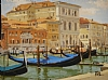 Gondola's -The Gand Canal, Venice by Brian Blood - Oil