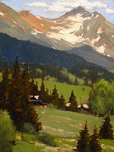 Mountain Retreat, Trout Lake by Brian Blood Oil ~ 12 x 9