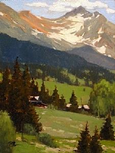 Mountain Retreat, Trout Lake by Brian Blood Oil ~ 12 x 9