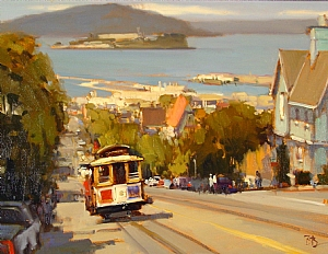Climbing Hyde Street by Brian Blood Oil ~ 18 x 24