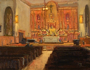 Mission Santa Barbara by Brian Blood - Oil