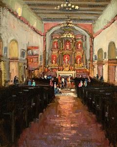 Mission San Jaun Bautista by Brian Blood Oil ~ 14 x 11