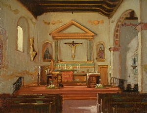 Mission San Luis Obispo by Brian Blood - Oil