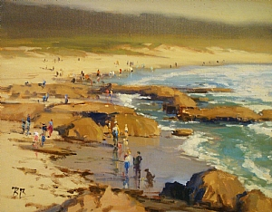 Playing at Asilomar Beach by Brian Blood Oil ~ 11 x 14