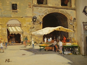Fruit Stand, Florence by Brian Blood Oil ~ 9 x 12