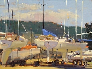 Sailboat Corral by Brian Blood - Oil