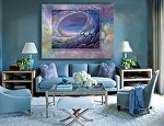 """Enchanting Web"" - in  a living room by Carol McIntyre Oil ~ 36 x 48"