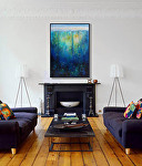 """""""Coming Up for Air,"""" in a living room by Carol McIntyre Oil ~ 36 x 24"""