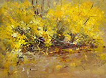 Yellow Rabbitbrush by Sue Smith Oil ~ 12 x 16