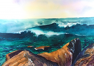 Storm Coming! by Donna PierceClark Watercolor and Gouache ~ 10.5 x 14 inches