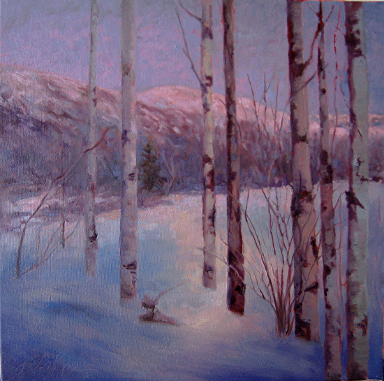 Aspens at Dusk - Oil