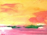 "Liquid Sky-Green Dream Islands by Don Sinish Acrylic ~ 22"" x 30"""