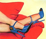Blue Heels Red Couch by Don Sinish colored pencil ~ 11 x 13