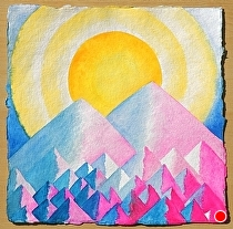 "two mountains together by Don Sinish Watercolor ~ 12"" x 12"""