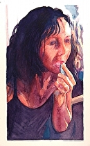 "Grey Haired Hot Chicks 3:  Toni and lipstick by Don Sinish Watercolor ~ 12"" x 6.75"""
