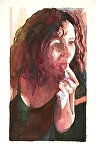 "Grey Haired Hot Chicks 4:  mirror, mirror on the wall by Don Sinish Watercolor ~ 12"" x 6.75"""