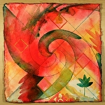 "new leaf by Don Sinish watercolor and watercolor pencil ~ 12"" x 12"""