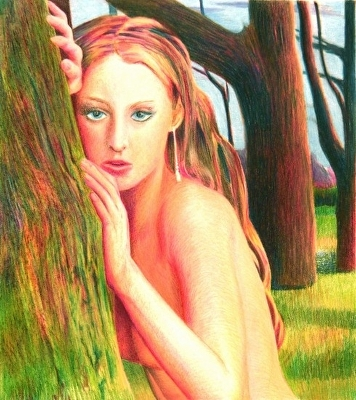 "Hide and Seek by Don  Sinish colored pencil ~ 9"" x 8"""