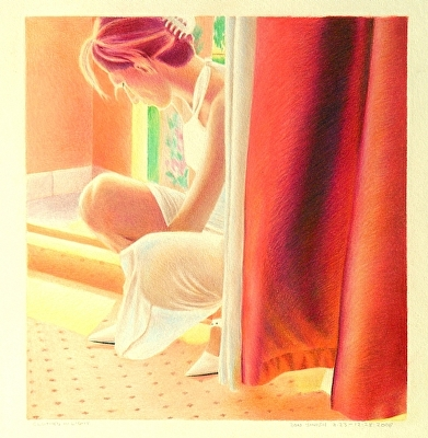 "Clothed in Light by Don  Sinish colored pencil ~ 8.5"" x 9.5"""
