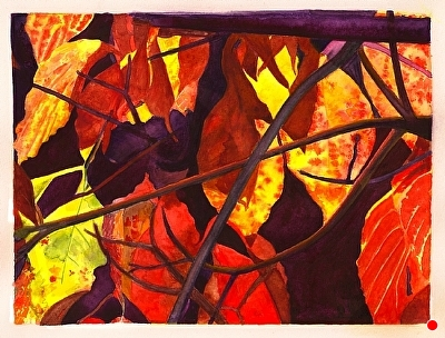 "Leaves and Shadows Study by Don  Sinish Watercolor ~ 6.25"" x 8.25"""