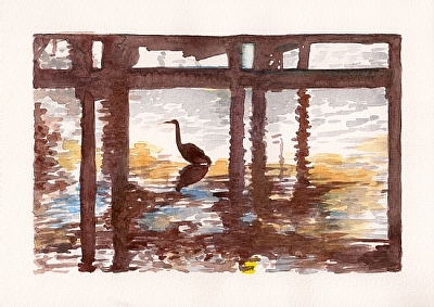 "Searching by Don  Sinish Watercolor ~ 6.5"" x 10"""