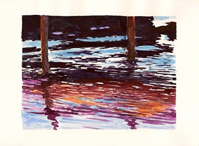 "Under the Dock by Don  Sinish Watercolor ~ 6.5"" x 9"""