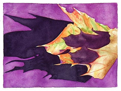 "the shadows of one leaf by Don  Sinish Watercolor ~ 8.5"" x 11.25"""