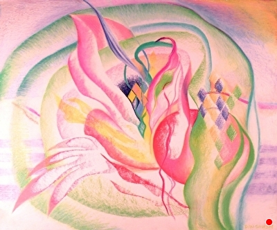 "celebration by Don  Sinish watercolor crayon ~ 14"" x 17"""