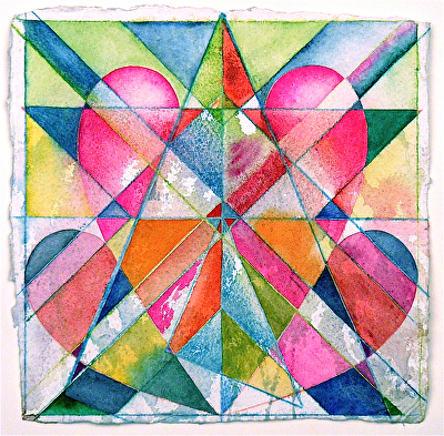 "heart star by Don  Sinish watercolor and watercolor pencil ~ 12"" x 12"""