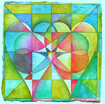 "Two hearts becoming one by Don  Sinish watercolor and watercolor pencil ~ 12"" x 12"""