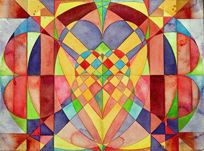 "Love Letter   :  Weaving our hearts together by Don  Sinish Watercolor ~ 11"" x 15"""